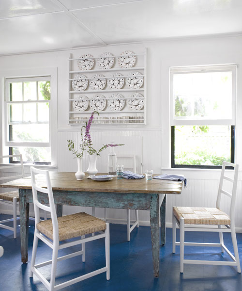 blue floored kitchen - Beach Cottage Decorations
