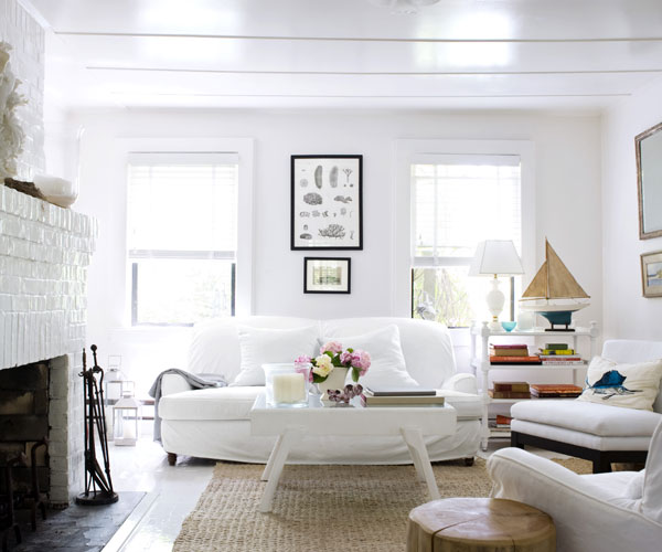 all white living room beach house - Beach Cottage Decorations