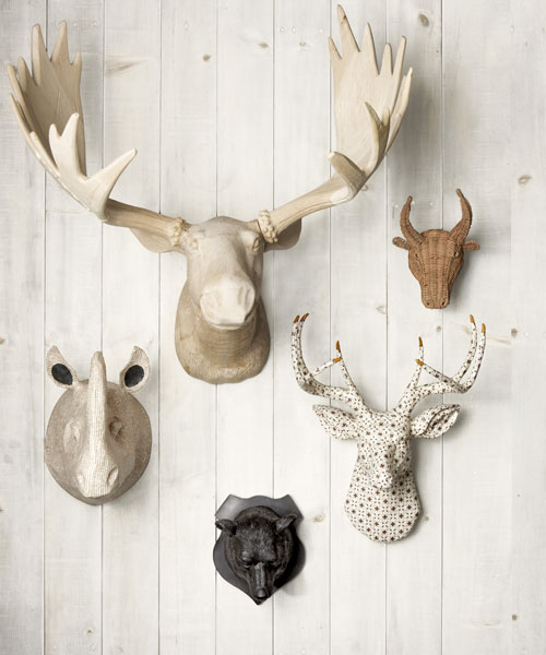 Trophy heads cute faux taxidermy heads for Animal head wall decoration