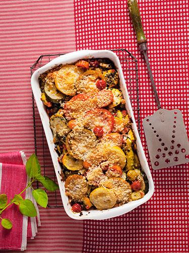 Casserole recipes - Golden Squash, Pepper, and Tomato Gratin