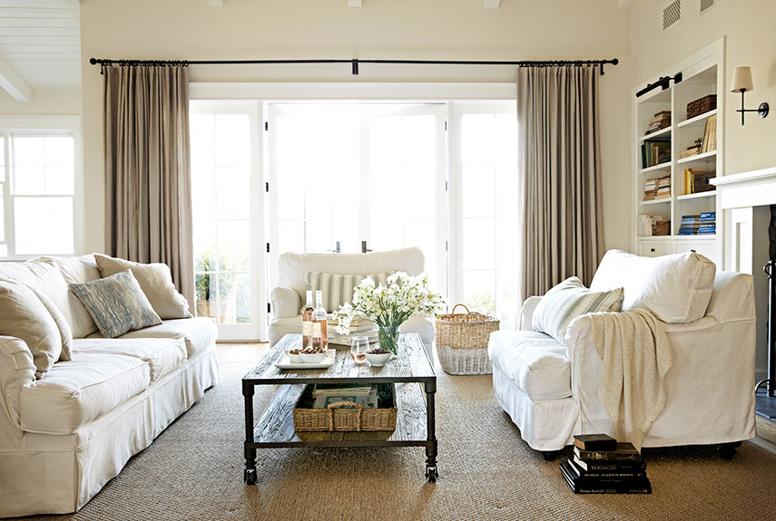 neutral tones in the living room - Window Treatments For Small Living Rooms