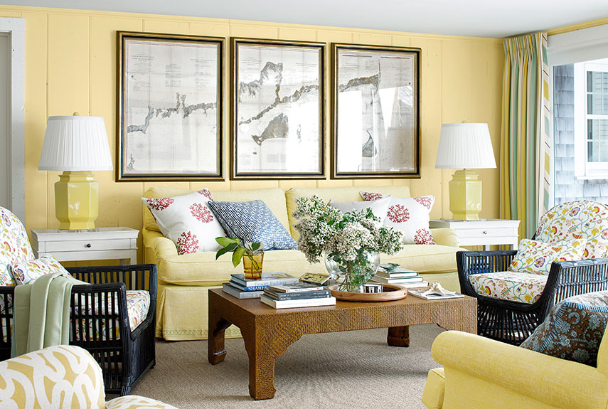 Martha maccallum cape cod house tour cape cod decorating for Living room yellow walls