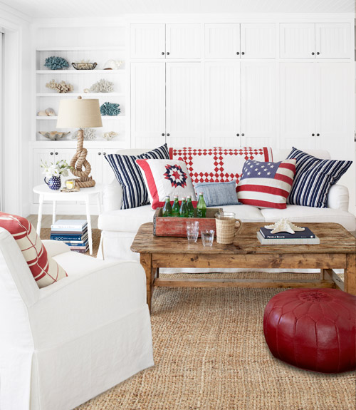 Blue And White Living Room Decorating Ideas patriotic decor  4th of july red white and blue decorating ideas