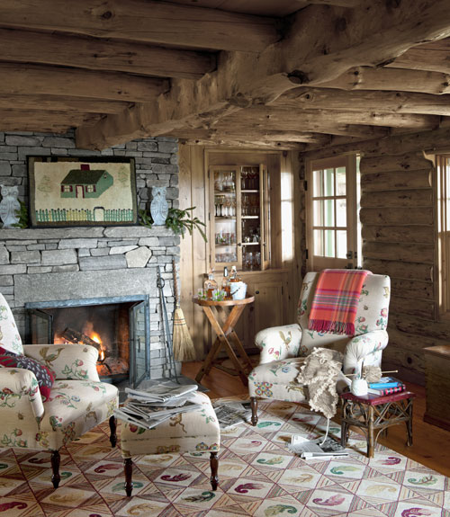 Vintage Country Living Room log cabin house tour - decorating ideas for log cabins