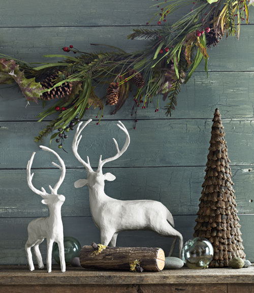 holiday stag statues - Rustic Christmas Decorations