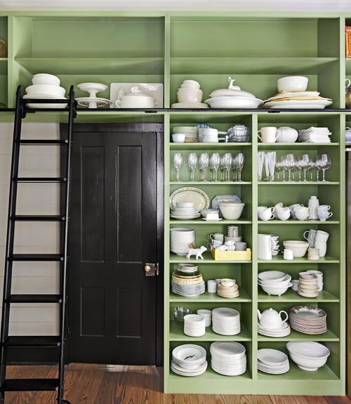 green shelving