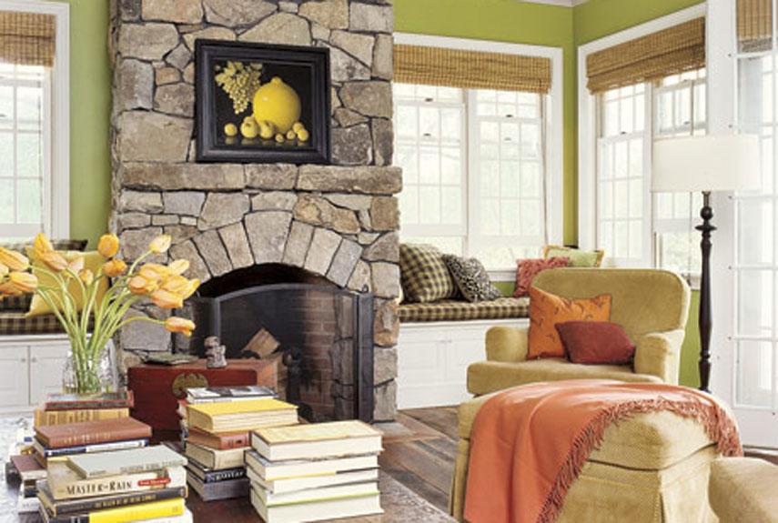 Green And Orange Living Room