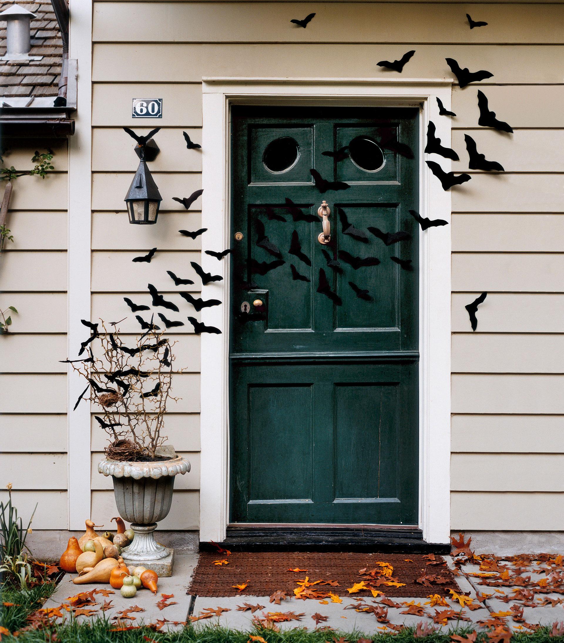 Bat-Filled Front Door- Halloween Craft Ideas