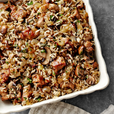 Wild Rice and Basmati Dressing with Sausage and Sage Recipe