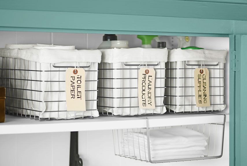 Organize Your Linen Closet Part - 37: Lined Wire Bins