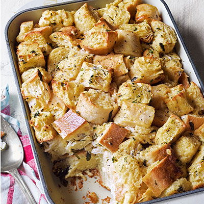 savory bread pudding with fresh chives recipe