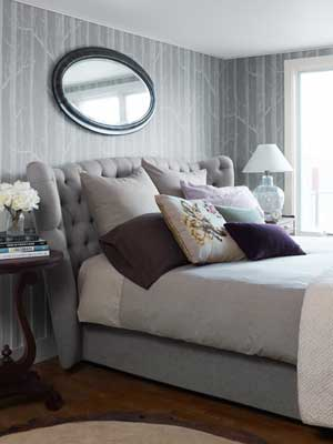 gray bedroom with upholstered headboard & Celebrity Bedrooms - Celebrity Decorating Ideas pillowsntoast.com