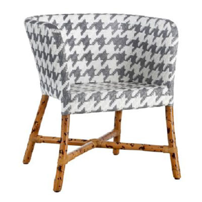 Captivating Como Bamboo Woven Chair In Grey/white, ...