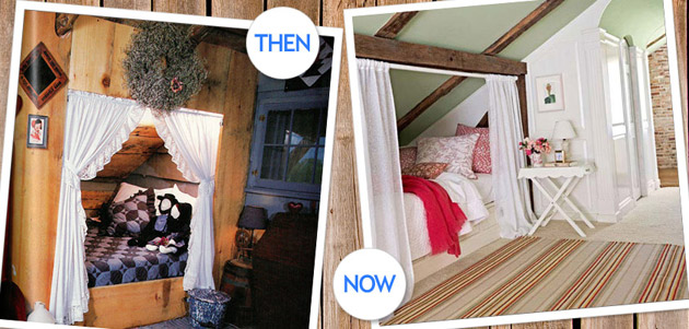 Subtle differences mark these two attic hideaways  from 1985 and 2010. Cozy Bed Nook   Country Style Decorating