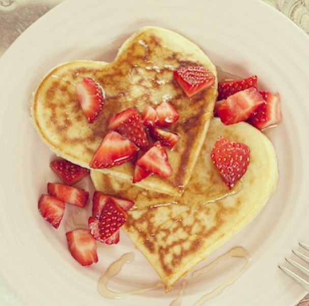 valentines day brunch ideas heart shaped pancakes - Valentines Brunch Ideas