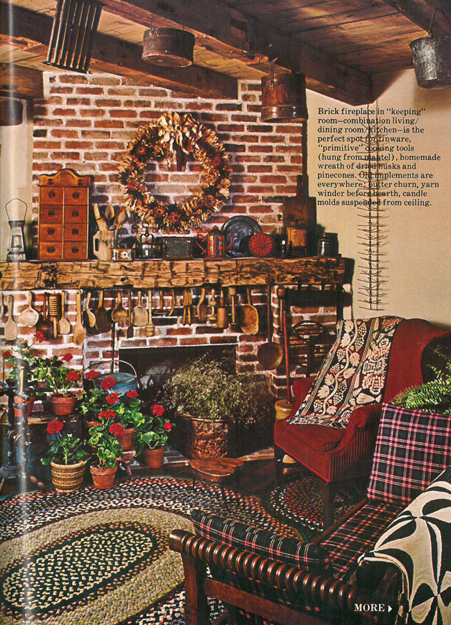 Which Year Do You Think This Photo Of A Combination Living Dining Room With Brick Fireplace Was Featured In Country