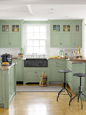 Cape Cod Kitchen With Green Cabinets Part 97