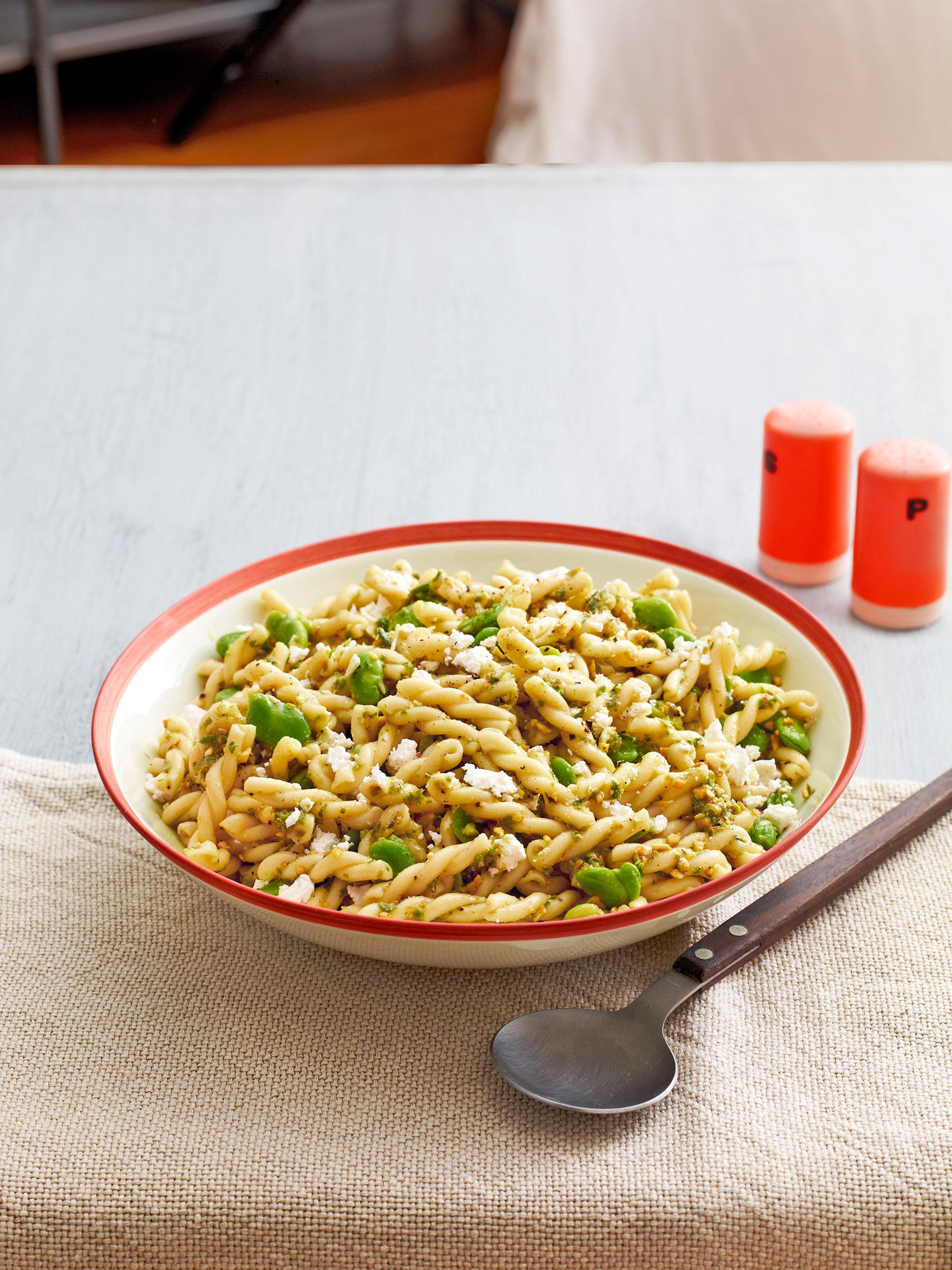 Fava Bean Pasta Salad with Garlic Scape Pesto Recipe