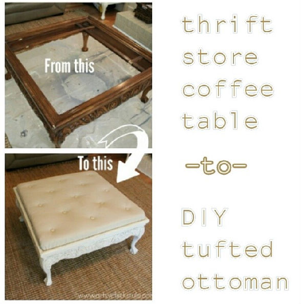 DIY Tufted Ottoman- Coffee Table Before and After