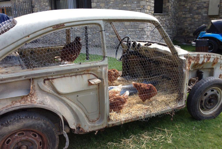 upcycled vw bug - Chicken Coop Design Ideas