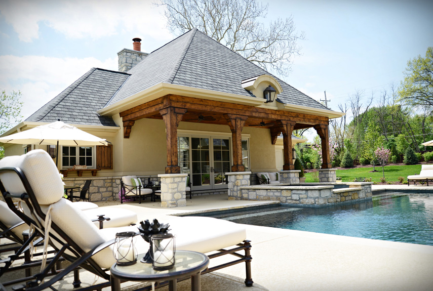 stone and timber pool house