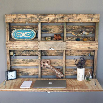 Pallet Fold-Out Desk - Scoutmob Reclaimed Wood Pieces - Decorating With Wood