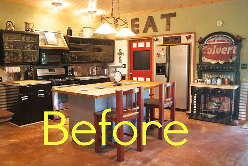 Simple Kitchen Makeover Ideas before and after: rustic kitchen makeover - house makeover ideas