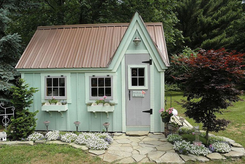 9 whimsical garden shed designs storage shed plans for Backyard cottage shed