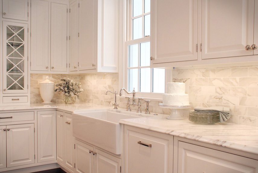 nice Kitchen Design Backsplash #9: Marble Backsplash