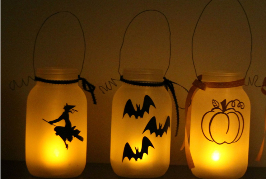 35 halloween mason jars craft ideas for using mason jars for halloween - How To Make Halloween Lanterns
