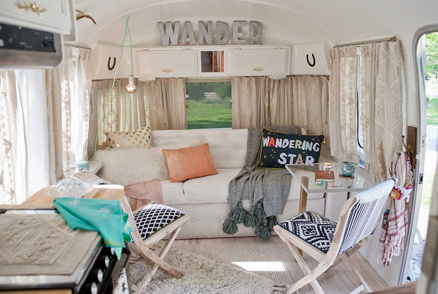 Sarah schneider airstream airstream decorating ideas Travel trailer decorating ideas