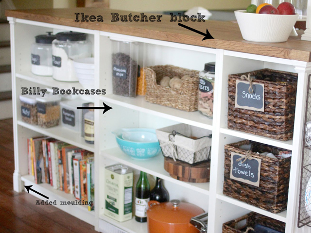 Not only do holiday parties require more storage space for food, but what about the extra plates, napkins, and placemats—not to mention yummy drink mixers? Create extra prep space and storage like Golden Boys & Me by hacking a Billy bookcase from Ikea into a kitchen island with a butcher block top. Get the tutorial at Golden Boys & Me.