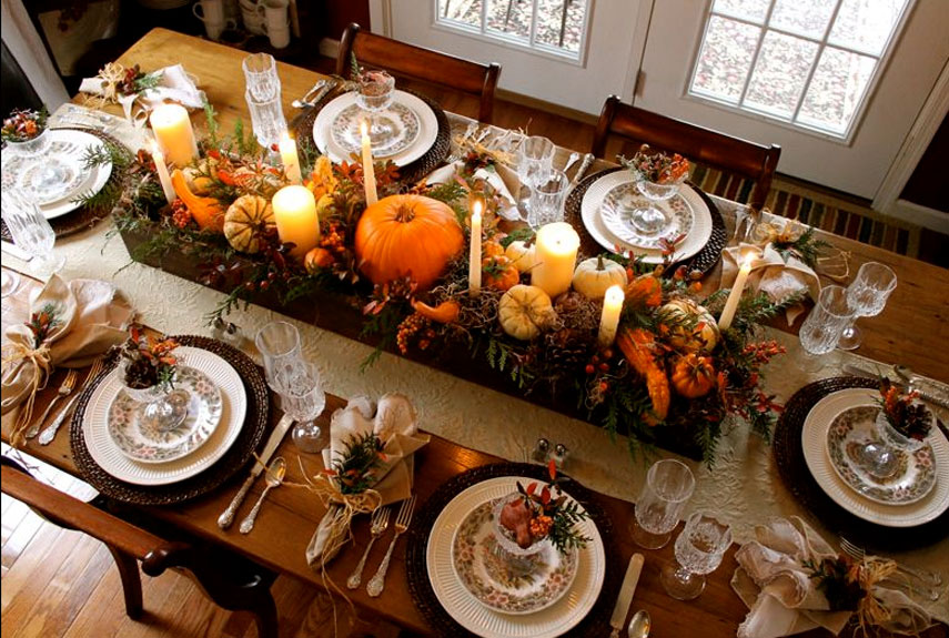 pictures of thanksgiving table settings