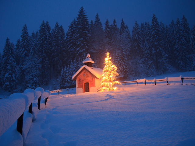 snowy church and xmas - photo #18