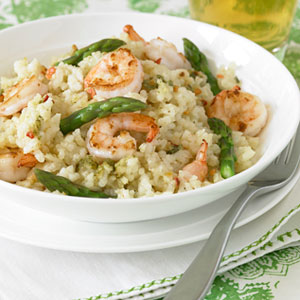 Shrimp and asparagus risotto recipe nextstopsix save the effort for another day with this creamy quick cook version that pairs packaged risotto with plump shrimp and fresh asparagus ccuart Gallery