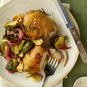 Crispy Chicken Thighs With Roasted Brussels Sprouts And Red Onions Recipe