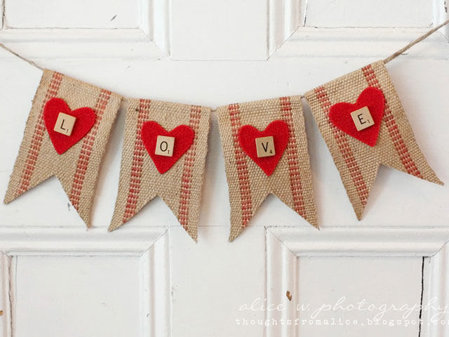 Put your love into words by DIYing a rustic banner, made of jute upholstery webbing, red felt, twine, and Scrabble tiles. Get the tutorial at Thoughts From Alice.