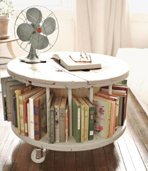 "Step 1: To build this brilliant ""bookmobile"" - crafted by Halligan Norris Smith and featured in Grace Bonney's Design*Sponge at Home ($21.24; barnesandnoble.com) - search a commercial salvage yard or sites like eBay for a wooden cable spool (usually under $50). You'll also need about 12 three-quarter-inch-thick wooden dowels that measure at least as tall as the spool when it's lying flat on either wheel. Step 2: Lay the spool on one of its wheels, then use a ruler to measure the distance from the top of the top wheel to the top of the bottom wheel. Use a handsaw to cut the dowels to this size, then sand the spool and dowels. Step 3: Measure the distance from one wheel's outer edge to the spool's core. Divide that number in half. Step 4: Beginning at the outer edge of the top of the top wheel, measure in the distance computed in Step Three. Mark with a pencil. Repeat around the spool's circumference, spacing marks an equal distance apart. Step 5: At each mark, drill all the way through the top wheel, using a three-quarter-inch spade bit. Then, with a hammer, drive a dowel into each hole, until the dowel's bottom is secured against the bottom wheel. Paint spool and dowels, if desired; let dry. Step 6: Evenly space three casters ($12 for five; ikea.com) in a triangle pattern atop the top wheel, placing each caster about an inch in from the edge, and drill into place. Flip the spool over and you're ready to roll."