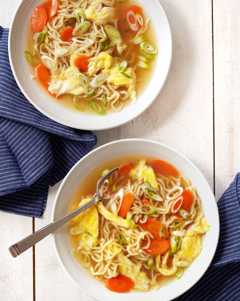 Use quick-cooking ramen and store-bought chicken broth to get this hearty rendition of the Chinese-restaurant classic on the table in a jiffy. Fortune cookies optional. Recipe: Egg-Drop Noodle Soup