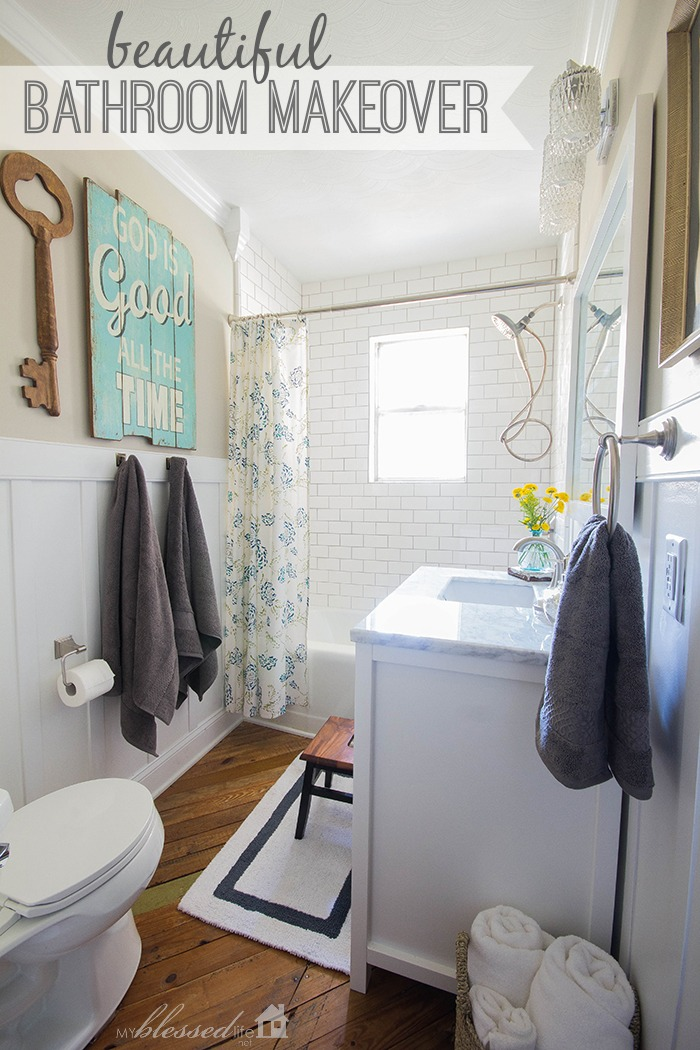Cottage style bathroom makeover bathroom decorating ideas for Makeovers for small bathrooms