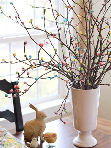 simply hot glue jelly beans to the ends of branches to create a jelly