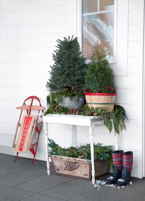 "Put down the tinsel. Sometimes evergreens look best au naturel, especially when stationed outdoors on a porch or patio. Serena placed these minis in a galvanized tub and an orchard basket, then arranged clippings and pinecones on the table and in the old crate below. ""Ask your local tree farm if they'll sell you surplus trimmings,"" she suggests. ""You'll probably get them for a song."""