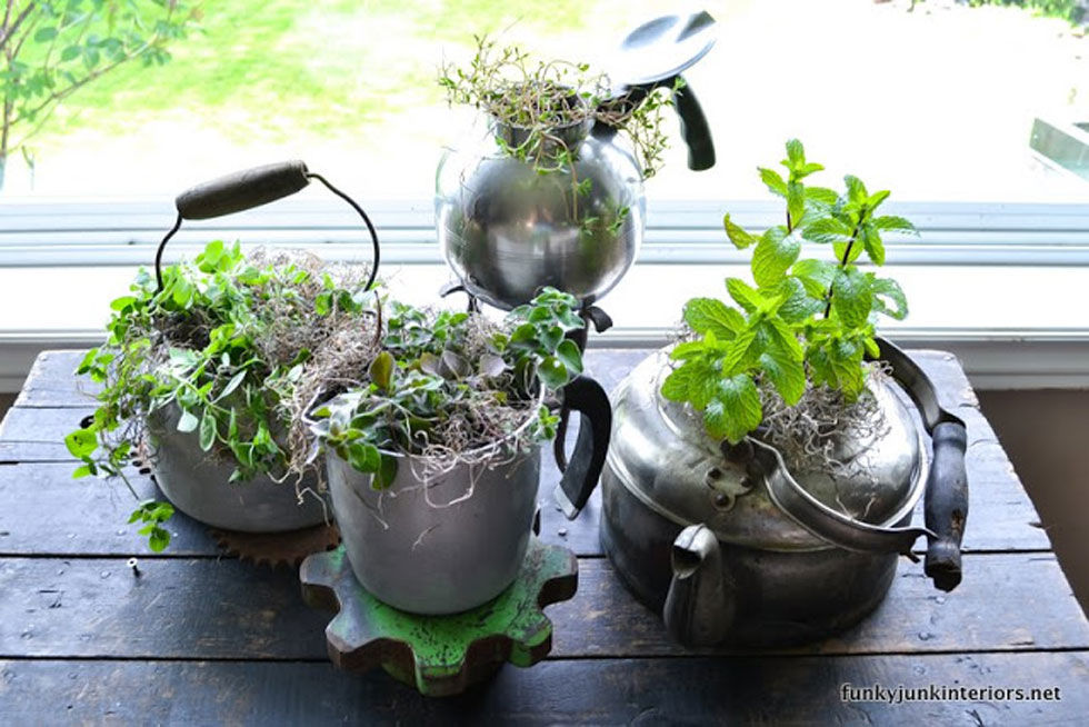 Start an indoor or outdoor garden by planting herbs in a used tea kettles—we love the vintage look of these tarnished silver ones. Get the tutorial at Funky Junk Interiors.