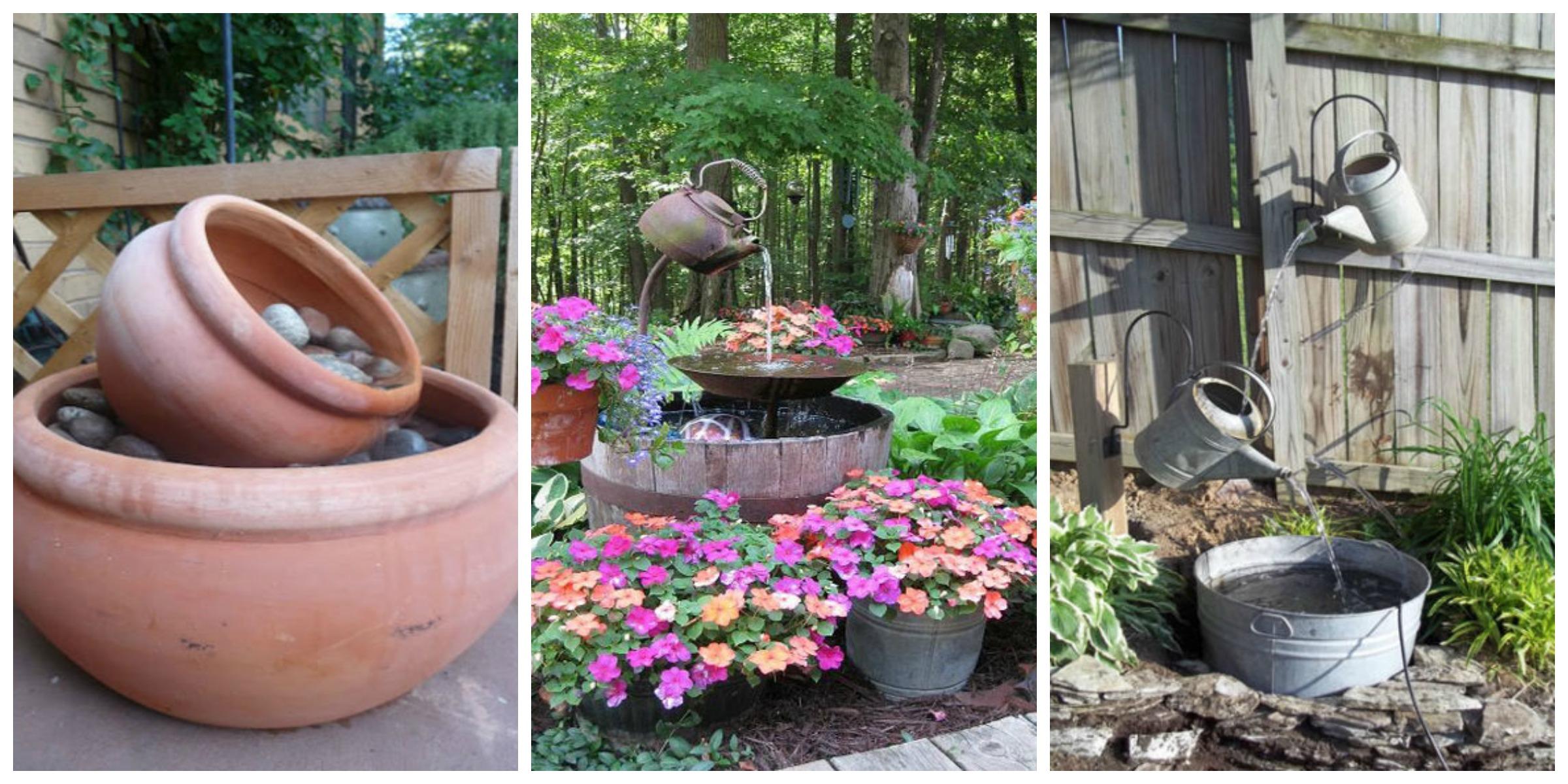 15 DIY Outdoor Fountain Ideas - How To Make a Garden ... on Diy Garden Patio Ideas id=94453