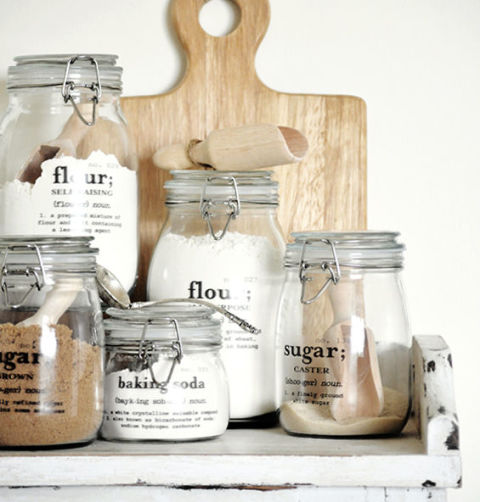 Use decals to turn Mason jars into countertop storage for flour, sugar, or baking soda. Get the tutorial at The Painted Hive.