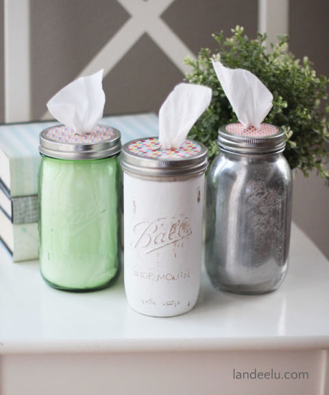 Keep tissues at the ready with these cute tissue dispensers. Add the colors of your kitchen to the jars' exteriors to maintain your color scheme. Feeling extra creative? You could also fill with Clorox wipes to easily wipe down counters. Get the tutorial at Landeelu.