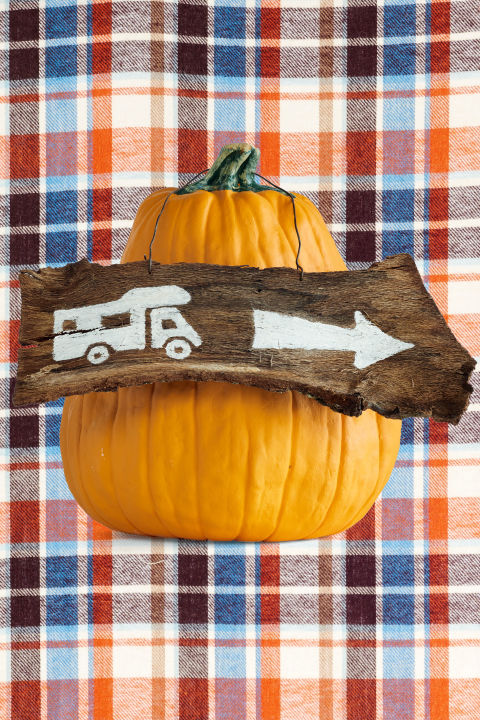 "Hang a piece of wood around a pumpkin stem to point guests to a campsite, party, or to simply say ""Welcome."" Download our campsite template. (Adjust template size as needed.) Trace template on a piece of wood or bark, and paint white. Drill two small holes in the top of the wood sign, and insert a piece of pliable wire to create a hanger. Hang around stem."