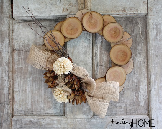 Layer wood chips onto a wooden frame to create this ultimate fall wreath. To add a focal point, adhere a bouquet of fall flowers tied with a burlap ribbon. Get the tutorial at Finding Home Farms.