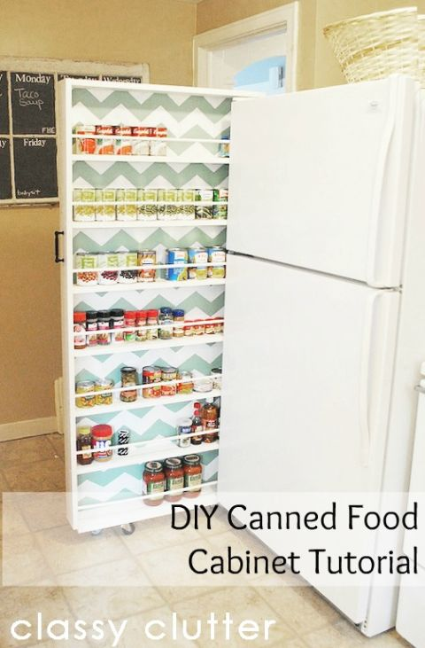 The skinny space between your fridge and the wall is prime real estate for storing canned goods (and a cute chevron surprise never hurts). Get the tutorial at Classy Clutter »