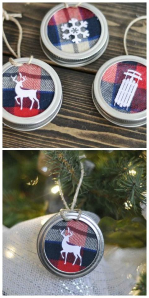 Turn an old flannel shirt, Mason jar lids, and cardstock into these perfectly rustic ornaments. Get the tutorial at Suburble.